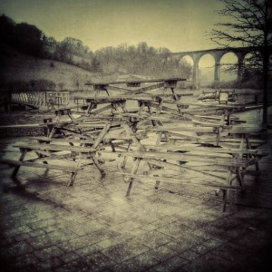 Pile of tables.... Only in Calstock... But is it art or delinquency